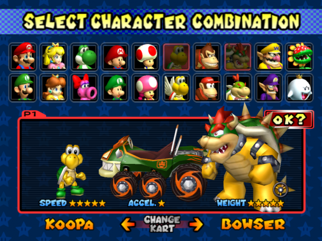 Character Select Mario Kart Double Dash