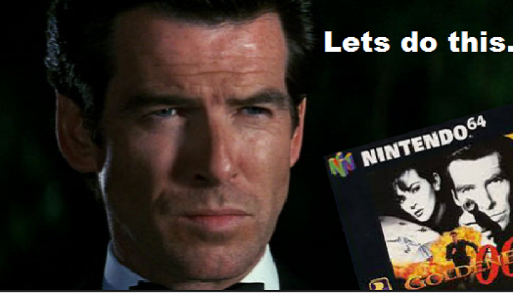 Pierce Brosnan plays GoldenEye on the N64, and is really bad