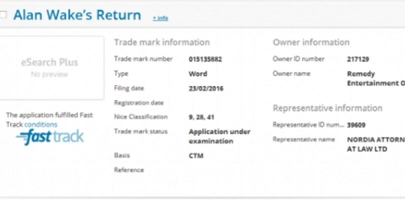 Alan Wake's Return gets registered as a trademark