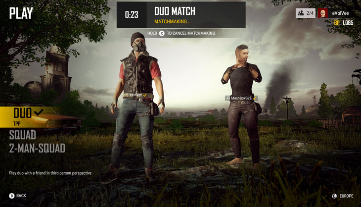 pubg test server stuck on started matchmaking